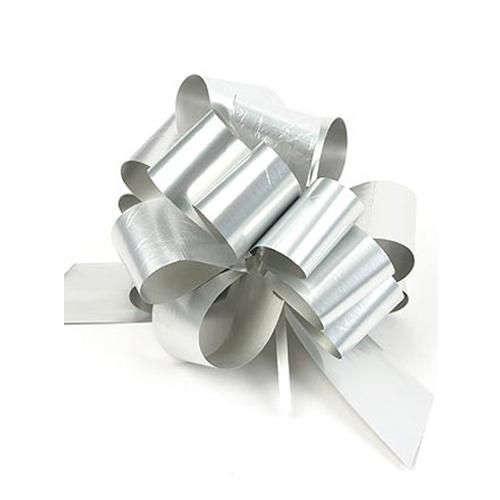 Бант-шар синтетическая лента серебряный