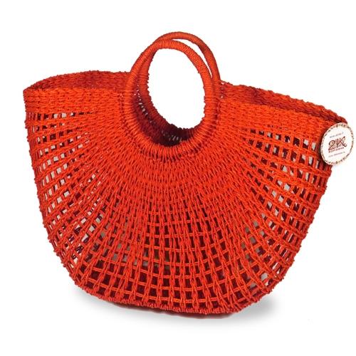 Сумка плетеная бумажно-текстильная лента оранжевый