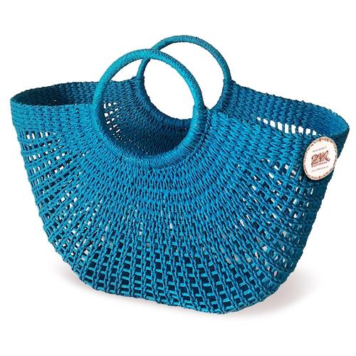 Сумка плетеная бумажно-текстильная лента голубой