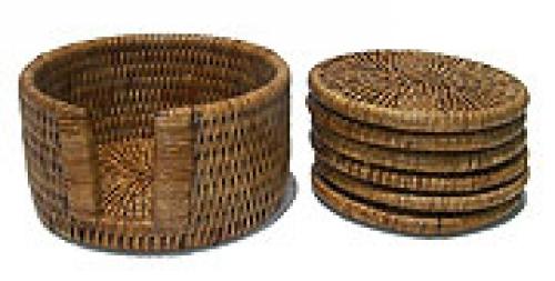 Подставки под кружки и стаканы ротанг темно-коричневый