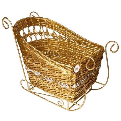 Санки плетеные золотые №2 ивовая лоза золотой