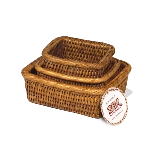 Коробочка для продуктов №3 ротанг медовый