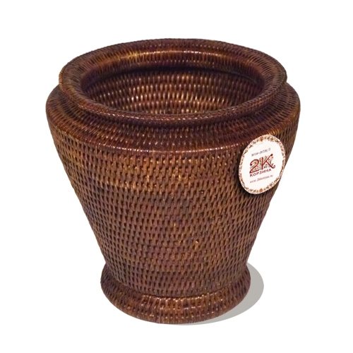 Круглая ваза ротанг темно-коричневый