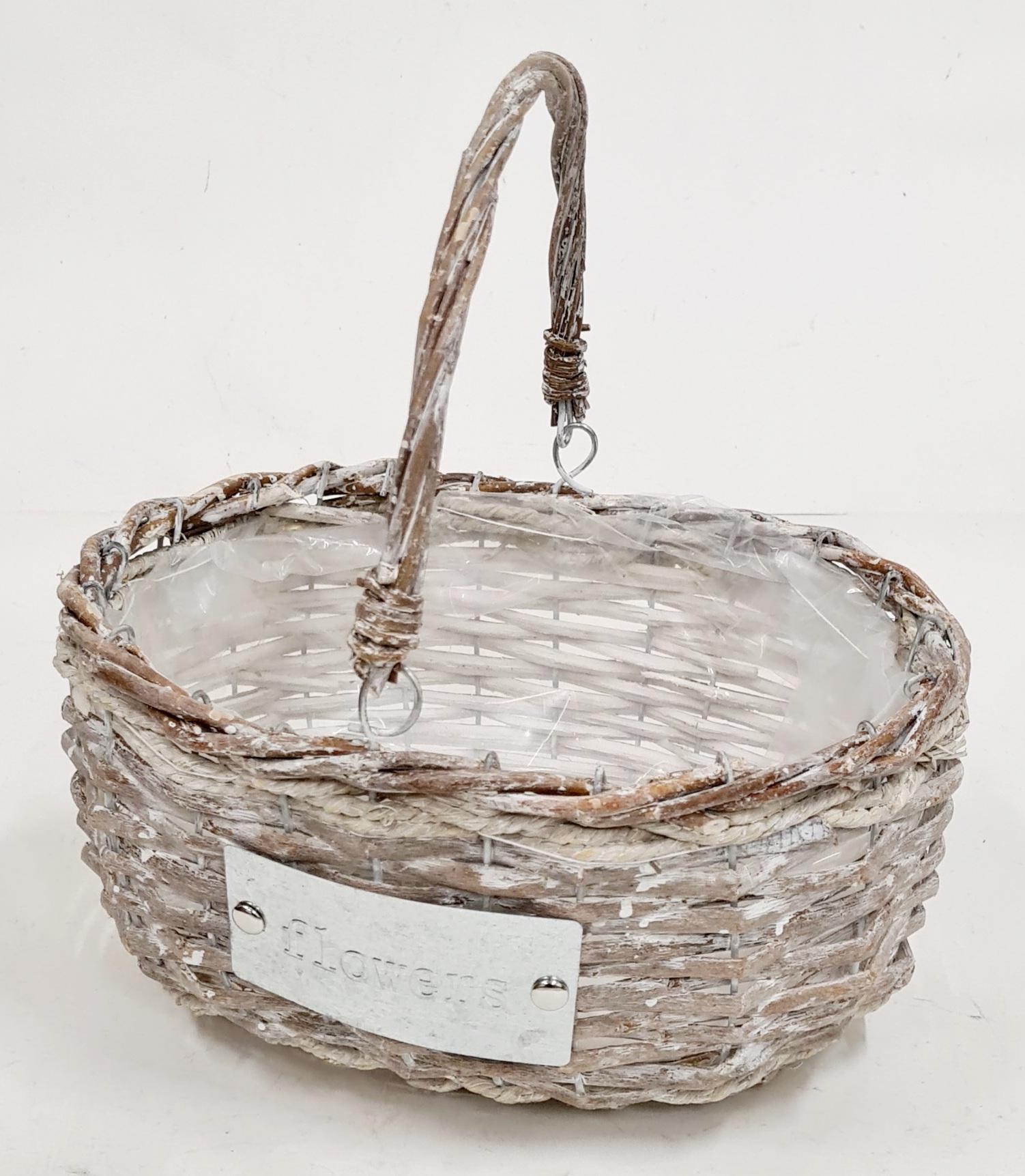 Корзина плетеная из ивовой лозы №3 лоза, полиэтилен коричневый с белым напылением (стиль прованс)