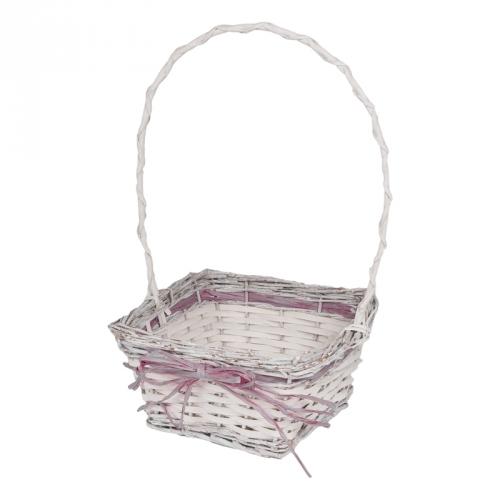 Набор корзин для флористики ивовая лоза, полиэтиленовая вставка белый матовый