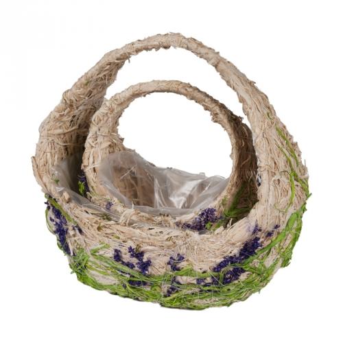 Набор корзин для флористики трава и сухоцветы светлый