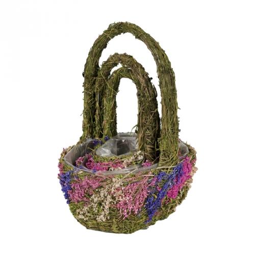 Набор корзин для флористики трава и сухоцветы зеленый
