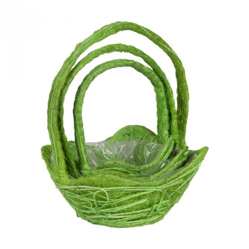 Набор корзин для флористики ротанг и сизаль зеленый