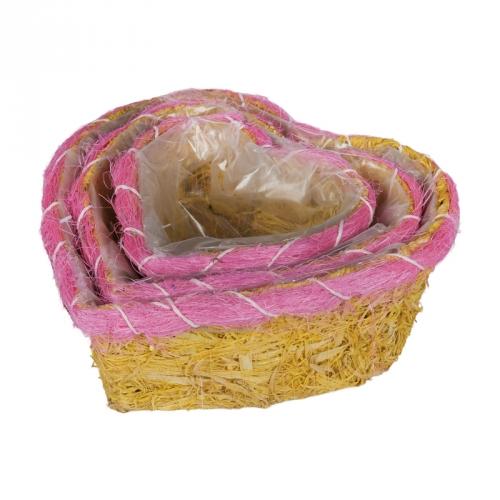 Набор корзин для флористики сизаль желтый с розовой вставкой
