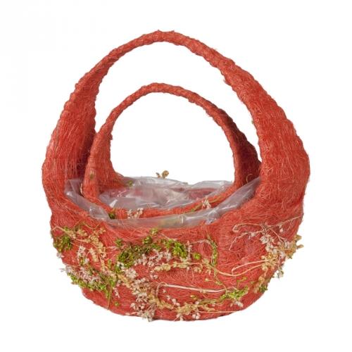 Набор корзин для флористики сизаль и сухоцветы оранжевый