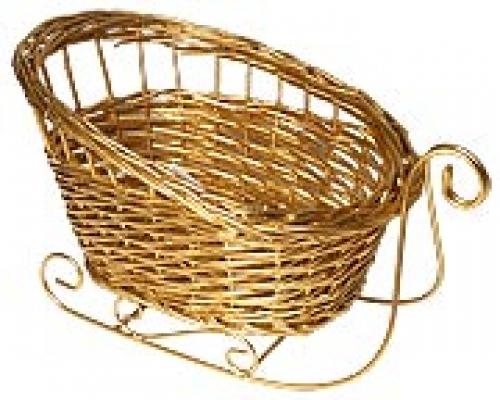 Санки плетеные №1 ивовая лоза золотой