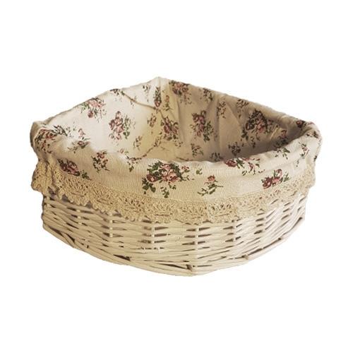 Корзина плетеная из ивовой лозы №4 лоза и ткань белый
