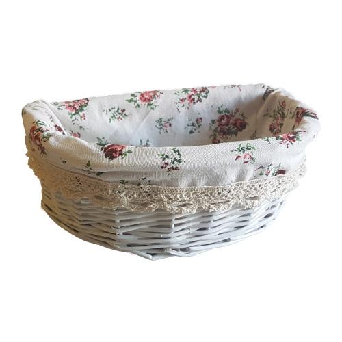 Корзина плетеная из ивовой лозы №3 лоза и ткань белый