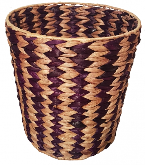 Корзина плетеная №2 банановый лист натуральный, фиолетовый