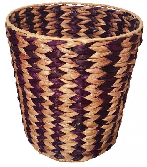 Корзина плетеная №3 банановый лист натуральный, фиолетовый