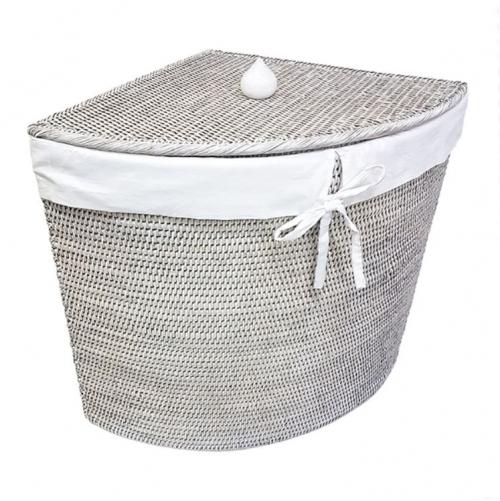 Угловая плетеная корзина с тканевым вложением ротанг белый