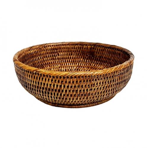 Глубокое круглое блюдо №3 ротанг коричневый