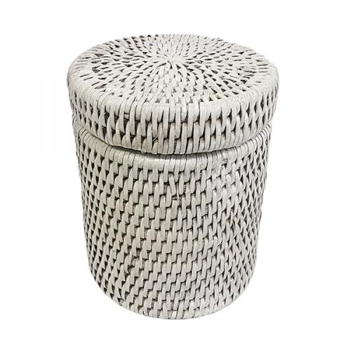 Круглая коробка с крышкой и пластиковым вложением №2 ротанг