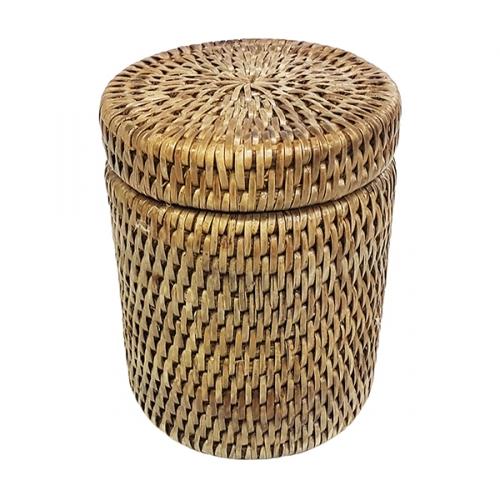 Круглая коробка с крышкой и пластиковым вложением №2 ротанг бежевый