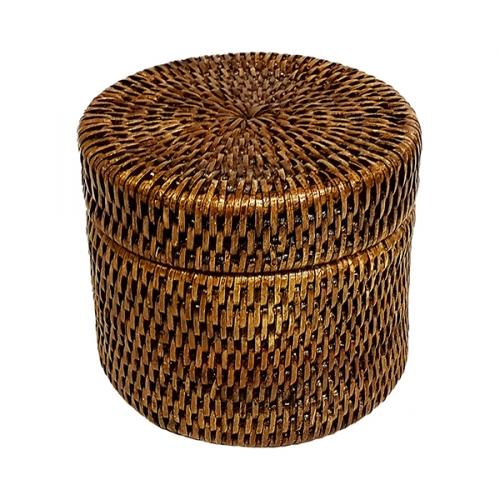 Круглая коробка с крышкой и пластиковым вложением №1 ротанг коричневый