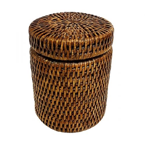 Круглая коробка с крышкой и пластиковым вложением №2 ротанг коричневый