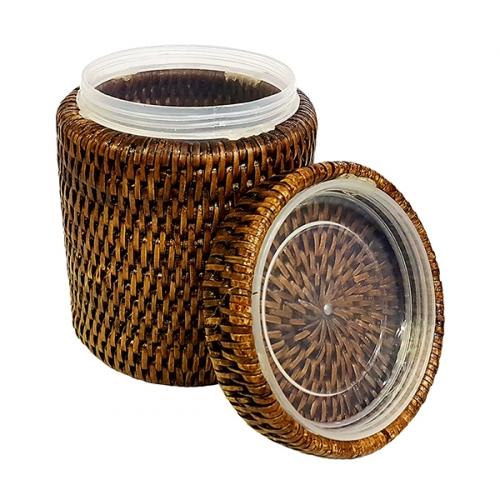 Круглая коробка с крышкой и пластиковым вложением №3 ротанг коричневый