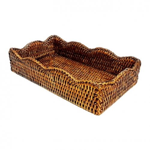 Квадратный плетеный поднос №1 ротанг коричневый