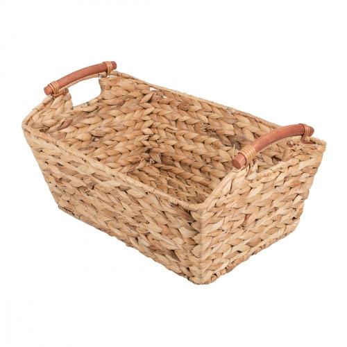 Короб плетеный с деревянными ручками №3 ротанг бежевый