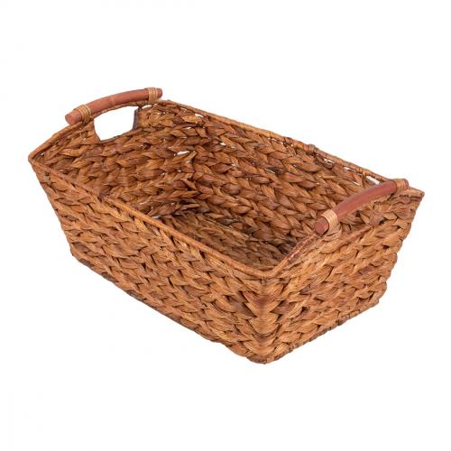 Короб плетеный с деревянными ручками №1 банановый лист коричневый