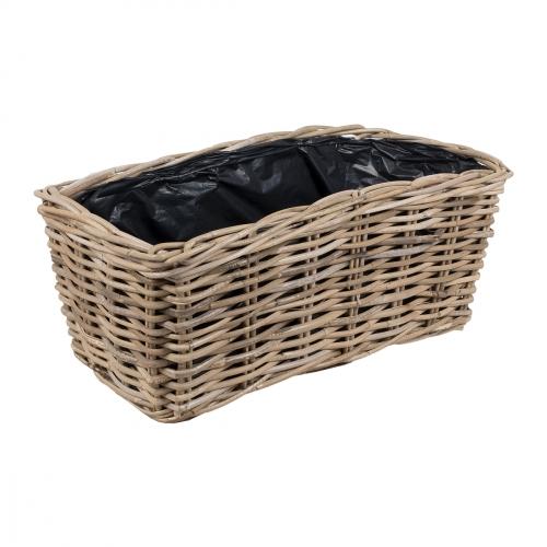 Плетеная корзина №1 ротанг серый
