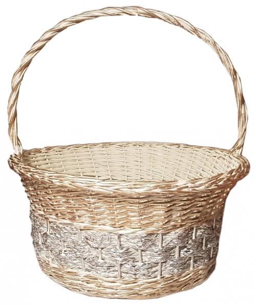 Корзина плетеная из ивовой лозы №1 прут кремовый с золотом и серебром