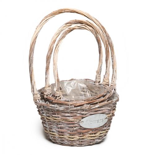 Набор плетеных корзин ротанг серебряный