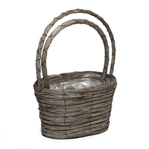 Набор плетеных корзин ротанг темно-серый