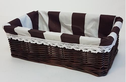 Корзина плетеная из ивовой лозы №5 лоза и ткань коричневый