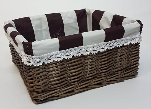 Корзина плетеная из ивовой лозы №2 лоза и ткань серый