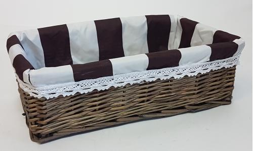 Корзина плетеная из ивовой лозы №3 лоза и ткань коричневый