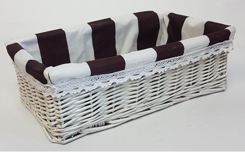 Корзина плетеная из ивовой лозы №5 лоза и ткань белый