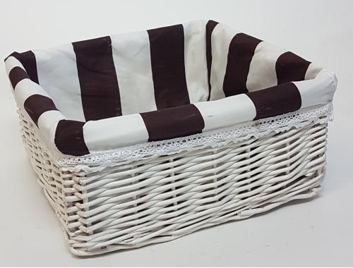 Корзина плетеная из ивовой лозы №6 лоза и ткань белый