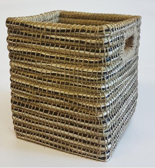 Корзина плетеная №3 трава каиса мультиколор
