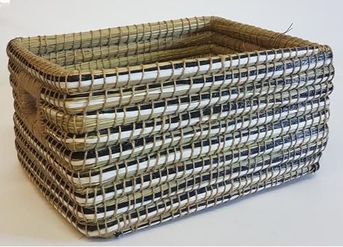 Плетеная корзина №2 трава каиса мультиколор