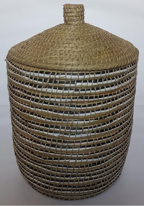 Плетеная корзина № 3 трава каиса мультиколор