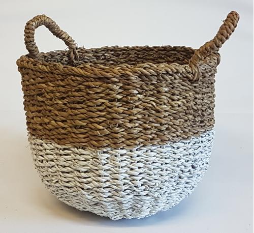 Корзина плетеная №4  морская трава натуральный и белый