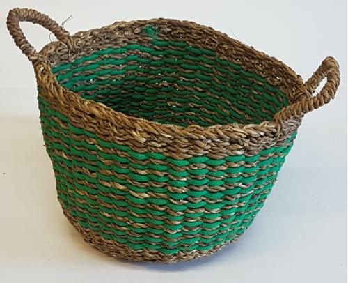 Корзина плетеная №1  морская трава натуральный и зеленый