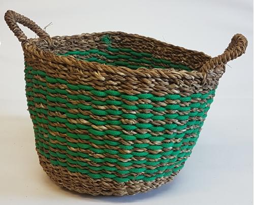Корзина плетеная №4 морская трава натуральный и зеленый