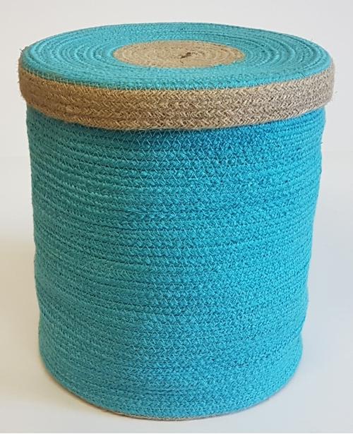 Корзина плетеная №1 джутовая веревка голубой