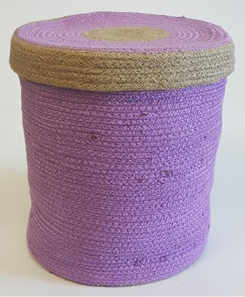 Корзина плетеная №3 джутовая веревка фиолетовый