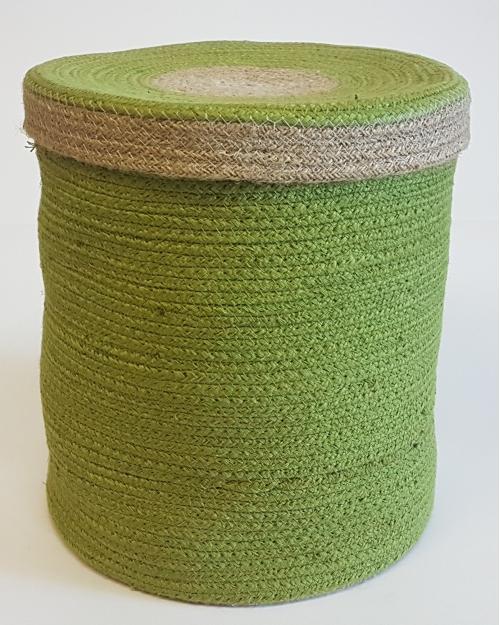 Корзина плетеная №1 джутовая веревка салатовый