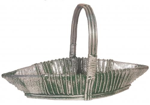 Корзина плетеная из ивовой лозы №2 ивовая лоза, фанерное дно зеленый с серебром