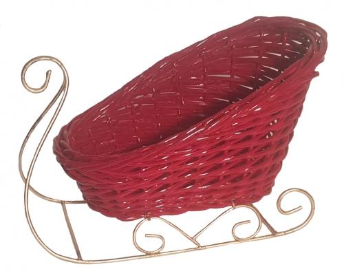 Санки плетеные №2 ивовая лоза красный