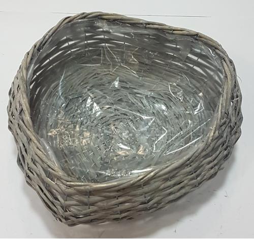 Кашпо плетеное №2 лоза, полиэтилен серый